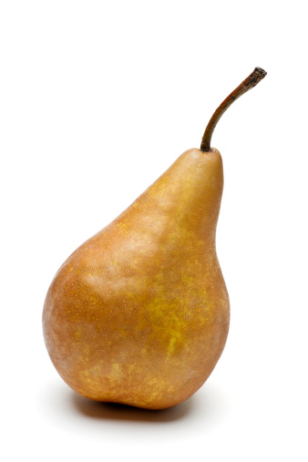 Pear「ゴールドの完熟アジアンペアで、白背景」:スマホ壁紙(5)
