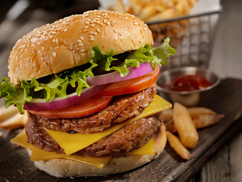 Bun - Bread「Double Cheeseburger with a Basket of Fries」:スマホ壁紙(9)