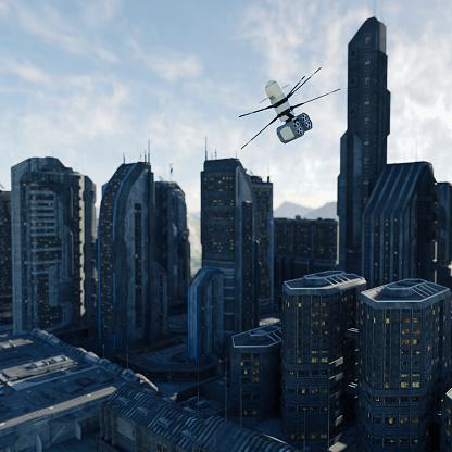 Virtual Reality「Drone flying in futuristic city」:スマホ壁紙(13)