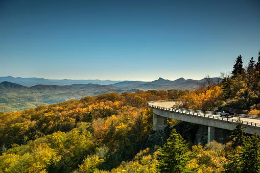 Great Smoky Mountains National Park「Linn Cove Viaduct Blue Ridge parkway in autumn」:スマホ壁紙(18)