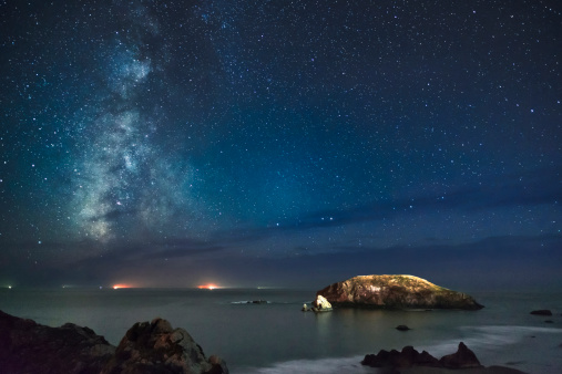 星空「View of Milky Way on night sky over beach, Oregon, USA」:スマホ壁紙(5)