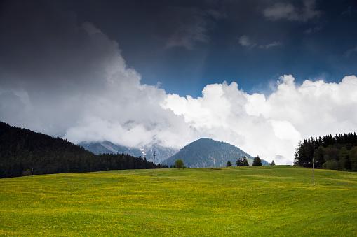 北チロル「Austria, Maria Alm, Landscape of green meadow and mountains in background」:スマホ壁紙(8)