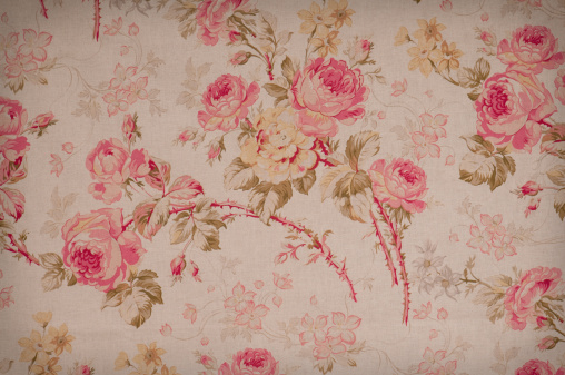 Floral Pattern「Summer Rose Close Up Antique Floral Fabric」:スマホ壁紙(15)