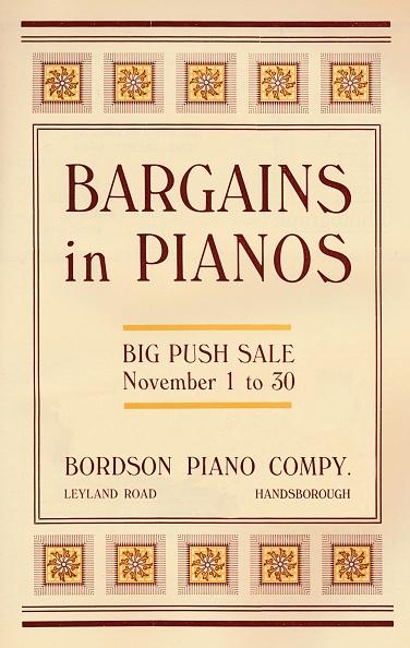 Musical instrument「Bargains In Pianos - Bordson Piano Companys Advert, 1916」:写真・画像(12)[壁紙.com]