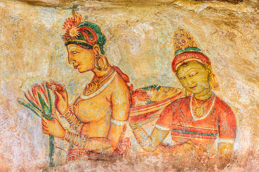 Water Lily「Ancient fresco in the cave temple, Sigiriya, Sri Lanka」:スマホ壁紙(4)