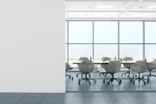 Meeting「Modern Empty Office Room With White Blank Wall」:スマホ壁紙(3)