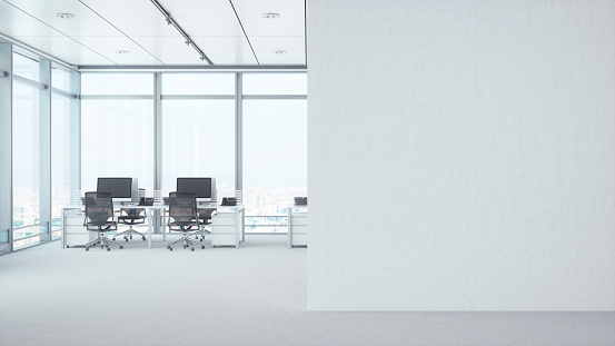Business「Modern Empty Office Room With White Blank Wall」:スマホ壁紙(2)
