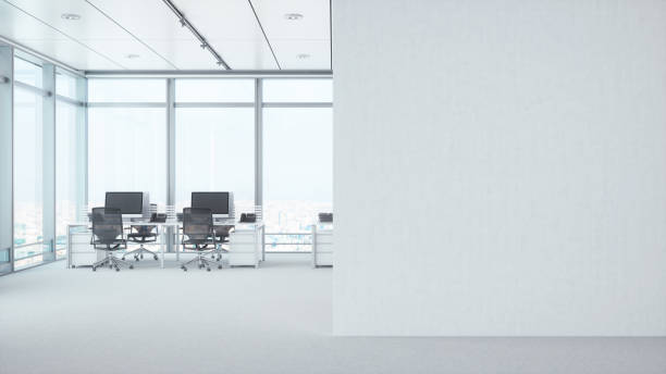 Modern Empty Office Room With White Blank Wall:スマホ壁紙(壁紙.com)
