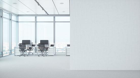Japan「Modern Empty Office Room With White Blank Wall」:スマホ壁紙(10)