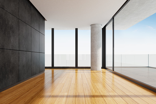Green Color「Modern empty apartment living room with panoramic view」:スマホ壁紙(11)