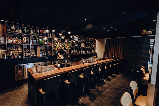 East Asia「Modern empty cafe or night club, closed down during pandemic lockdown」:スマホ壁紙(17)