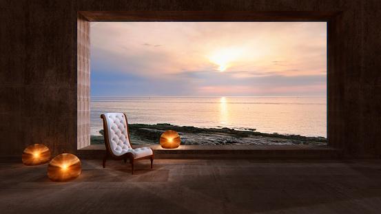 豪華 ビーチ「モダンな空のリビングルームには、海の眺め」:スマホ壁紙(7)