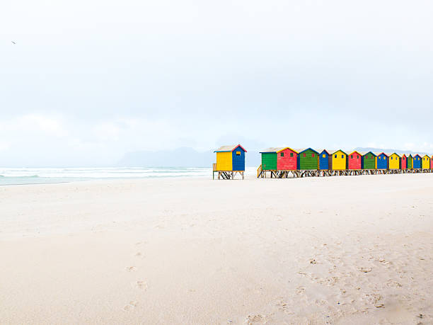 Colourfully painted bathing boxes (cubicles) at Muizenberg beach. Cape Town, South Africa:スマホ壁紙(壁紙.com)