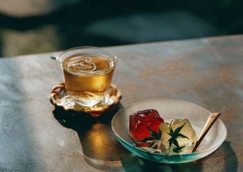 Wagashi「Cold Tea and Jelly」:スマホ壁紙(1)