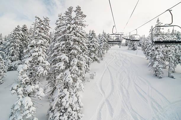 Chair lift in Snowy Winter Landscape:スマホ壁紙(壁紙.com)