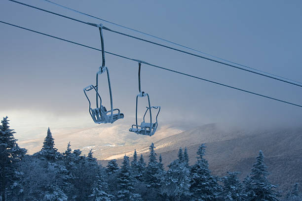 Chair lift in winter:スマホ壁紙(壁紙.com)