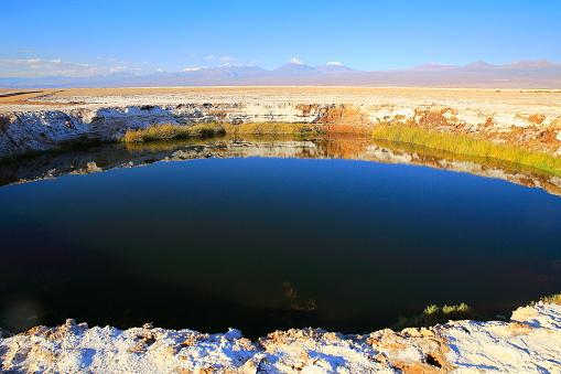 Antofagasta Region「Eyes of the Salar waterhole, Licancabur and Juriques Volcanoes - Turquoise lake reflection and Idyllic Atacama Desert, Volcanic landscape panorama – San Pedro de Atacama, Chile, Bolívia and Argentina border」:スマホ壁紙(11)