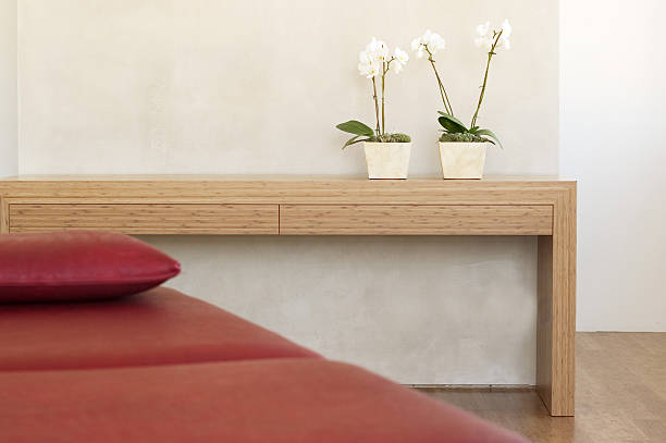 Two potted orchids in front of wall on shelf by red couch:スマホ壁紙(壁紙.com)