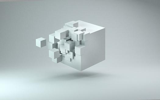 Collapsing「3D cube render against light gray background」:スマホ壁紙(11)