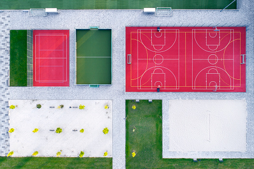 Volleyball「Sports area, various fields - aerial view」:スマホ壁紙(17)