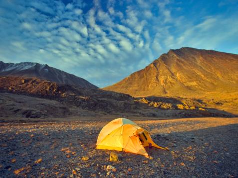 Eco Tourism「Canada, Nunavut, Baffin Island, camp site at sunrise」:スマホ壁紙(15)