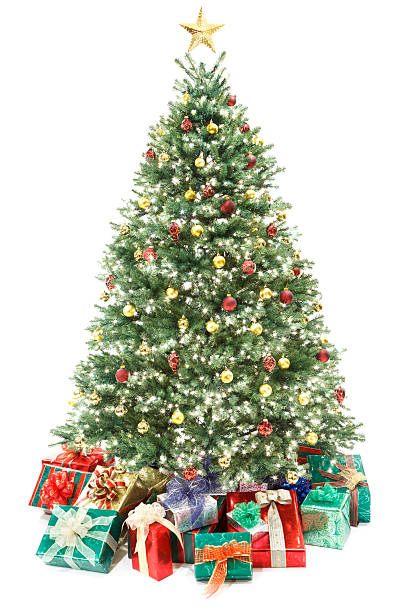 Decorated Christmas Tree with Gifts Isolated on White:スマホ壁紙(壁紙.com)