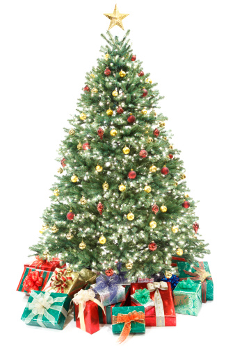Event「Decorated Christmas Tree with Gifts Isolated on White」:スマホ壁紙(4)