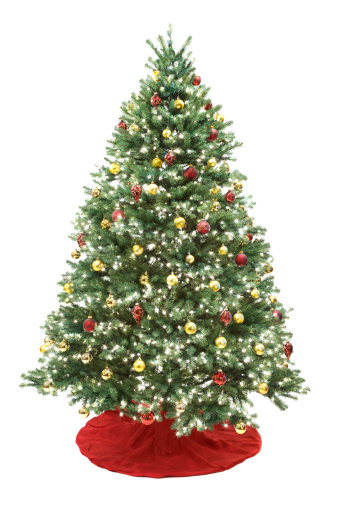 Artificial「Decorated Christmas Tree Isolated on White」:スマホ壁紙(17)