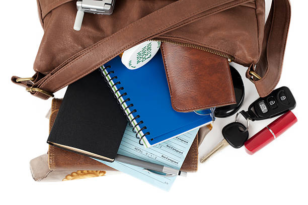 Leather Purse: Spilling Necessary Items:スマホ壁紙(壁紙.com)