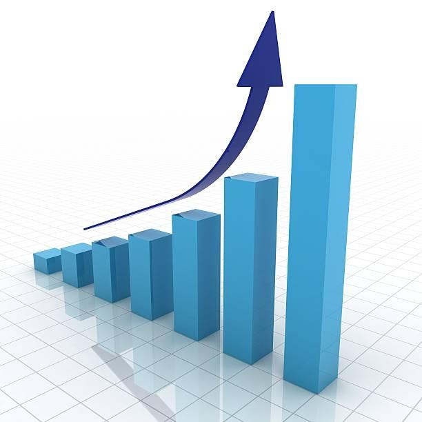 Blue 3D business graph showing growth:スマホ壁紙(壁紙.com)