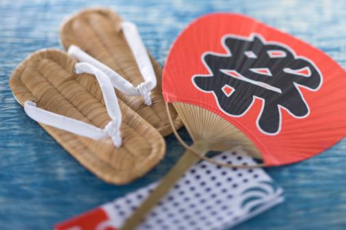 お祭り「Zori, Tenugui and Fan」:スマホ壁紙(6)