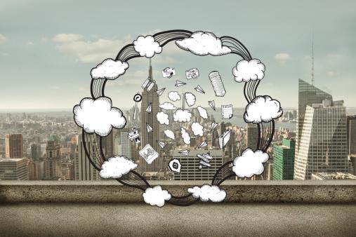 Paper Craft「Composite image of cloud computing doodles」:スマホ壁紙(14)