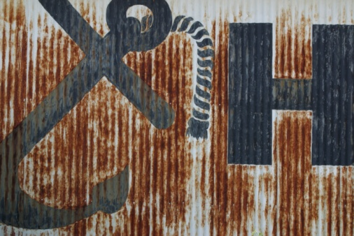 Anchor - Vessel Part「Rusting corrugated metal wall with painted anchor」:スマホ壁紙(10)