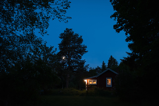 Scandinavia「Forest cottage in moonshine」:スマホ壁紙(5)
