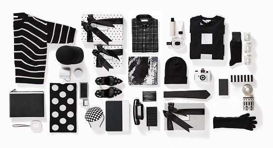 Shoe「Luxury fashionable clothing and stationery items flat lay on white background」:スマホ壁紙(2)