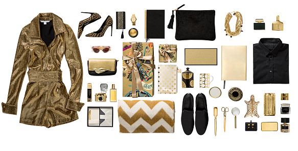Gift「Luxury fashionable gold clothing and stationery items flat lay on white background」:スマホ壁紙(1)