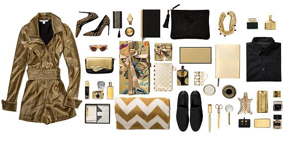 Gift「Luxury fashionable gold clothing and stationery items flat lay on white background」:スマホ壁紙(1)