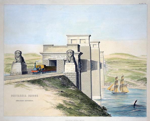 Passenger Craft「Britannia Bridge Anglesey Entrance' Wales 1849」:写真・画像(8)[壁紙.com]