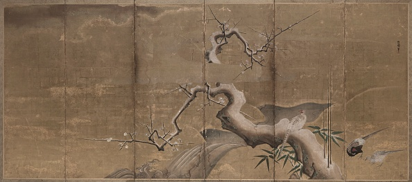 Deciduous tree「Winter Scene With Plum Trees And Pheasants (Birds Left)」:写真・画像(11)[壁紙.com]