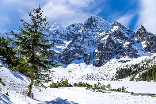 Tatra Mountains「Winter scene with Morskie Oko lake in Tatra Mountains, Poland」:スマホ壁紙(1)
