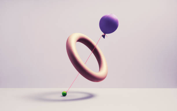 A ballon trying to drag a marble threw a spherical ring:スマホ壁紙(壁紙.com)