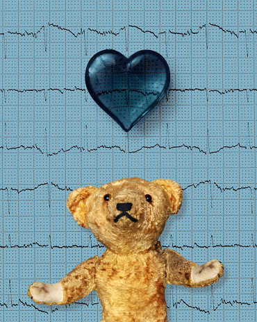 Heart「Teddy bear with a blue heart and electrocardiogram」:スマホ壁紙(6)