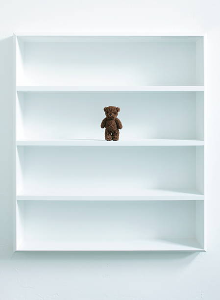 A teddy bear in white bookshelf:スマホ壁紙(壁紙.com)