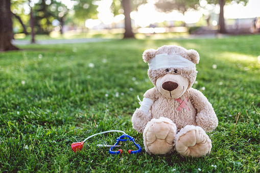 Recovery「Teddy bear patient sitting in the park」:スマホ壁紙(16)
