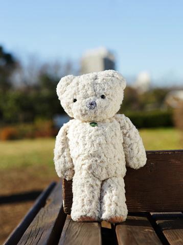 ぬいぐるみ「Teddy bear on the park bench」:スマホ壁紙(16)