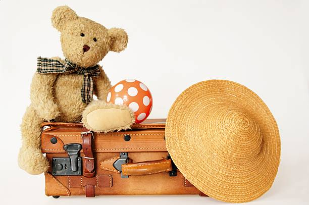 Teddy bear on suit case with hat and ball:スマホ壁紙(壁紙.com)