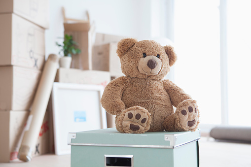 おもちゃ「Teddy bear sitting on box in front of piled cardboard boxes」:スマホ壁紙(11)