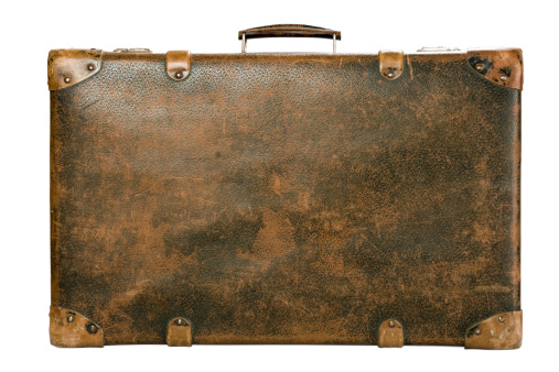 Leather「Old luggage trunk on a white background」:スマホ壁紙(10)