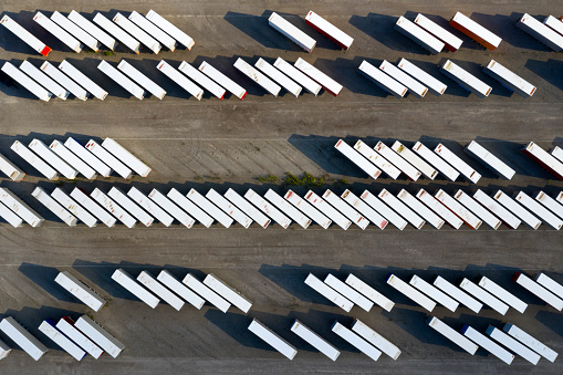 Parking Lot「Truck Trailers and Shipping Containers, Aerial View」:スマホ壁紙(16)
