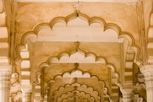 UNESCO「India, Uttar Pradesh, Agra, Agra Fort, carved stone ceiling, arches」:スマホ壁紙(17)